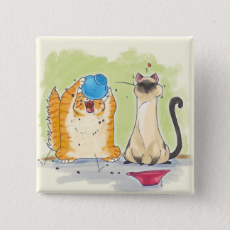 Katzen-Comic Quadratischer Button 5,1 Cm