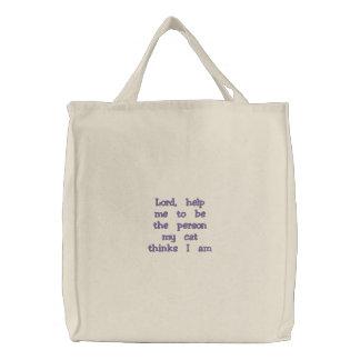 Katzen-Dame Bag Bestickte Tasche