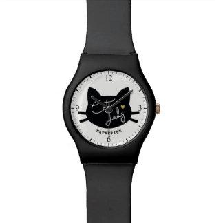 Katzen-Dame Uhr