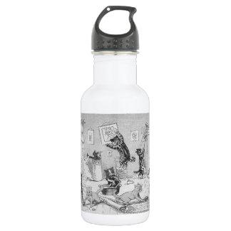 Katzen, die im Frühjahr, Louis Wain säubern Trinkflasche