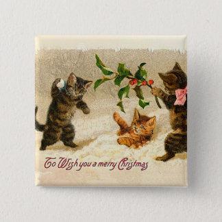 Katzen, die im Schnee Vintagen Weihnachten spielen Quadratischer Button 5,1 Cm