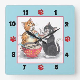 Katzen, die Nudel-quadratische Wanduhr essen