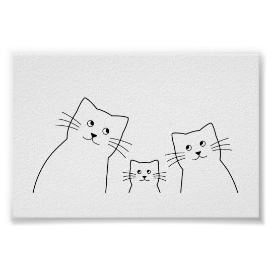 Katzen Familie Silhouette Poster