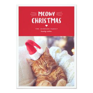 Katzen-Feiertags-Foto-Karte Meowy Weihnachten| 12,7 X 17,8 Cm Einladungskarte
