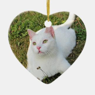 Katzen-Foto-Herz-Verzierungs-doppelseitiger Keramik Ornament