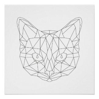Katzen-geometrischer schwarzer u. weißer perfektes poster