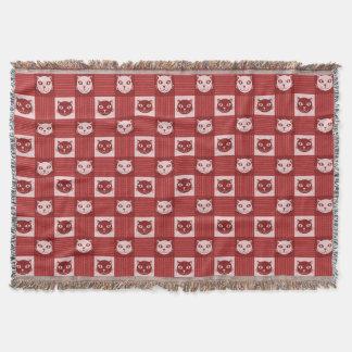 Katzen-Gesichts-Gingham-Muster-niedliches Rot Decke