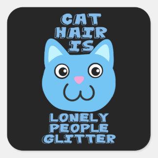 Katzen-Haar Quadrat-Aufkleber