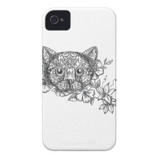 Katzen-Hauptjasmin-Blumen-Tätowierung iPhone 4 Cover