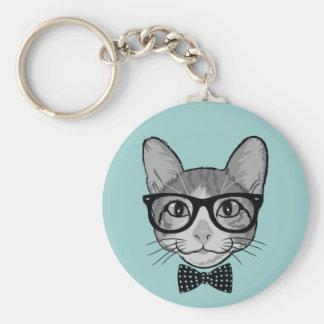 Katzen-Hipster mit Polka-Punkt-Bogen-Krawatte Standard Runder Schlüsselanhänger