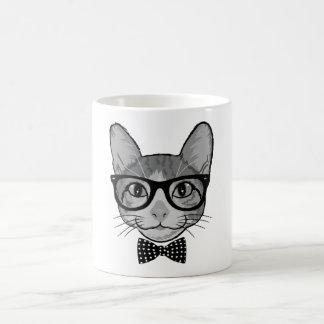 Katzen-Hipster mit Polka-Punkt-Bogen-Krawatte Kaffee Tasse