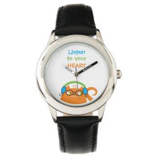 Katzen-Hipster-Musik-Glas-helles modernes lustiges Armbanduhr