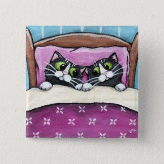 Katzen im Bett-Knopf Quadratischer Button 5,1 Cm