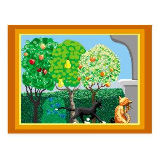 Katzen im Garten Postkarte