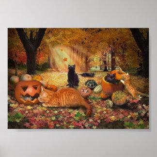 Katzen im Herbst Poster