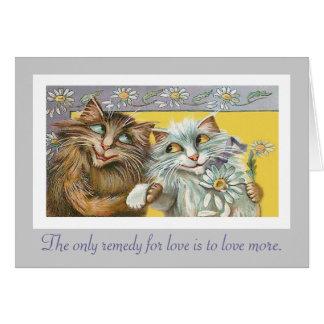 Katzen in der Liebe und in Thoreau Zitat Grußkarte