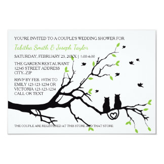Katzen in einem Baum - der Polterabend des Paares 8,9 X 12,7 Cm Einladungskarte