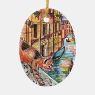 Katzen in Venedig Ovales Keramik Ornament