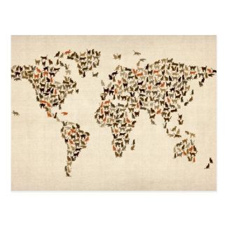 Katzen-Karte der Weltkarte Postkarte