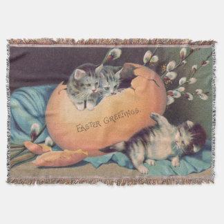 Katzen-Kätzchen-Ostern farbige Ei-Baumwolle Decke