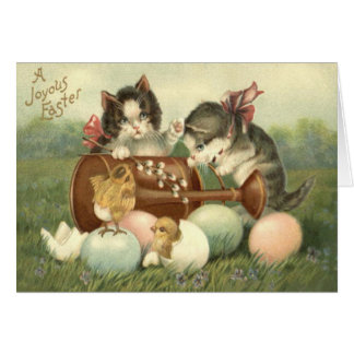 Katzen-Kätzchen Ostern färbte gemaltes Ei-Küken Grußkarte