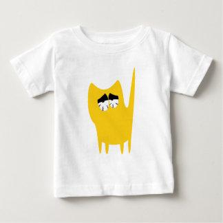 Katzen-kleine stehende Gelb-so müde Augen Baby T-shirt