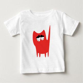 Katzen-kleine stehende Rot-so müde Augen Baby T-shirt