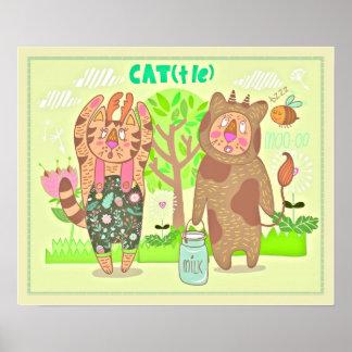 Katzen-Kostüm-Kinderzimmer-Druck Poster
