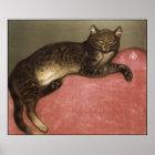 Katzen-Kunst-Plakat/Druck: Ausgedehnte Katze durch Poster