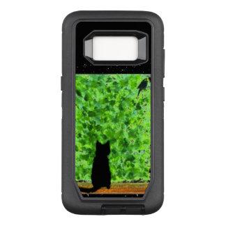 Katzen-Kunst-schwarze Katzen-Vogelbeobachtung OtterBox Defender Samsung Galaxy S8 Hülle