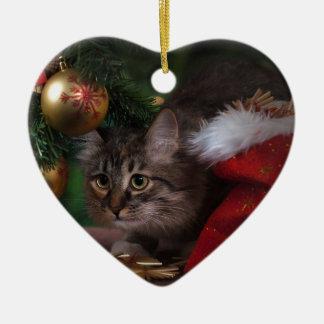 Katzen-Liebe frohe Weihnachten Keramik Herz-Ornament