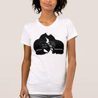Katzen-Liebe Herz-Hochzeitsnamen-Datums-T - Shirt