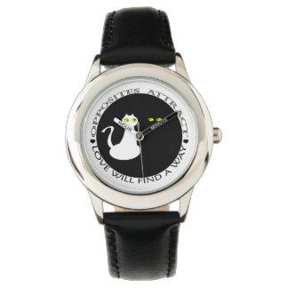 Katzen-Liebe-Paar-minimaler cooler Schwarz-weißer Armbanduhr