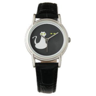 Katzen-Liebe-Paar-minimaler cooler Schwarz-weißer Uhr