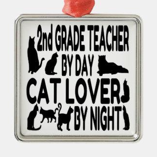 Katzen-Liebhaber-2. Grad-Lehrer Silbernes Ornament
