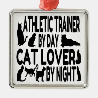 Katzen-Liebhaber-athletischer Trainer Silbernes Ornament