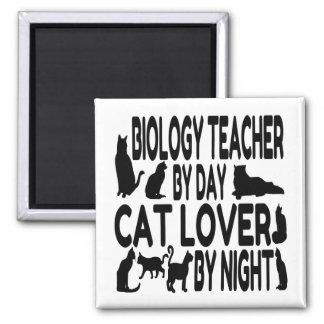 Katzen-Liebhaber-Biologie-Lehrer Quadratischer Magnet