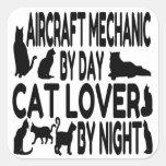 Katzen-Liebhaber-Flugzeugmechaniker Quadratsticker