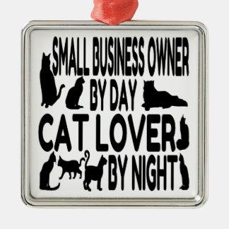 Katzen-Liebhaber-kleiner Geschäftseigentümer Quadratisches Silberfarbenes Ornament