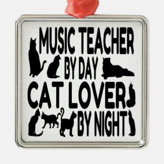 Katzen-Liebhaber-Musik-Lehrer Silbernes Ornament