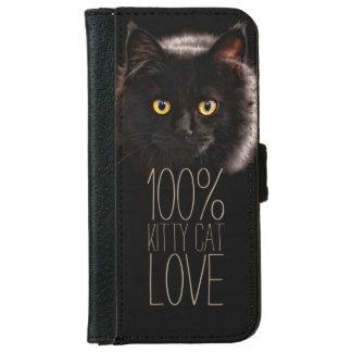 Katzen-Liebhaber-schwarze Katzen-Typografie iPhone 6/6s Geldbeutel Hülle