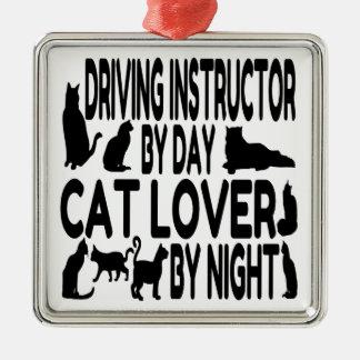Katzen-Liebhaber-treibender Lehrer Silbernes Ornament