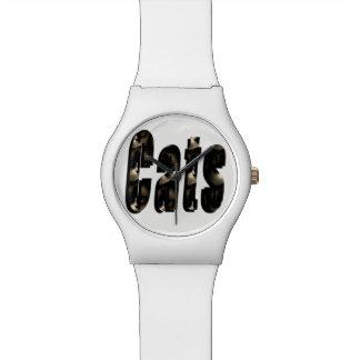 Katzen-Maßlogo, die weißen Damen kann aufpassen Armbanduhr