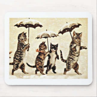 Katzen mit Regenschirmen Mousepad