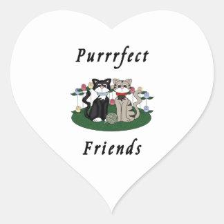 Katzen-perfekte Freunde Herz-Aufkleber