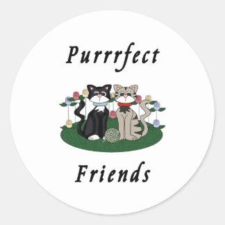 Katzen-perfekte Freunde Runder Aufkleber