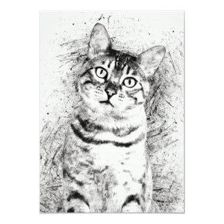 """Katzen-Porträt-gemischte Medien auf 5"""" x 7"""" 12,7 X 17,8 Cm Einladungskarte"""