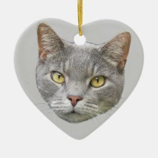 Katzen-Porträt Keramik Herz-Ornament