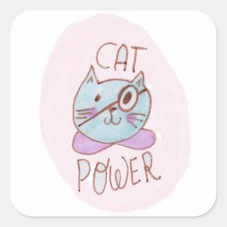 Katzen-Power Quadratischer Aufkleber