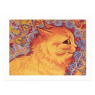 Katzen-Profil durch Louis Wain Postkarte